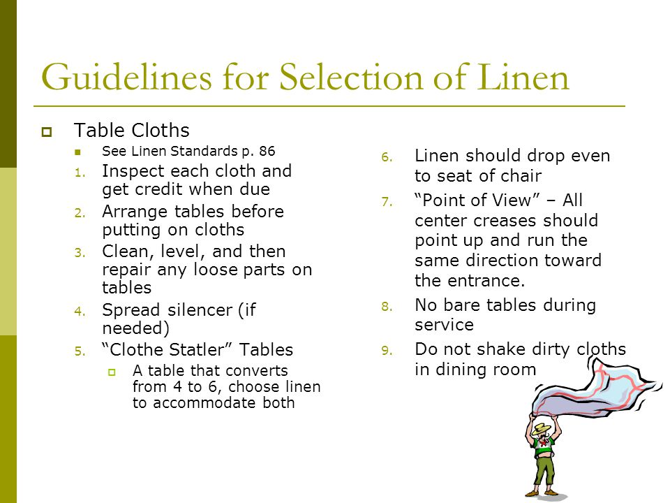 Guidelines for Selection of Linen