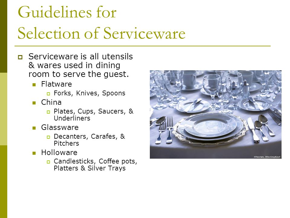 Guidelines for Selection of Serviceware
