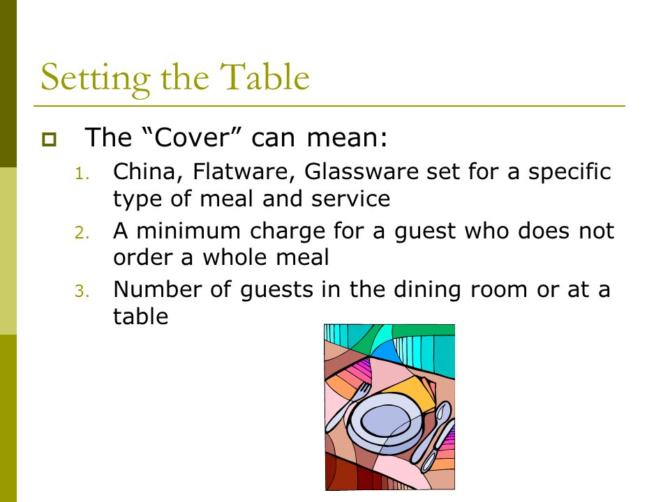 Setting the Table The Cover can mean: