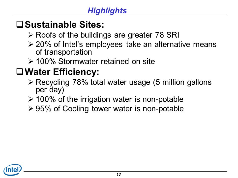Sustainable Sites: Water Efficiency: Highlights