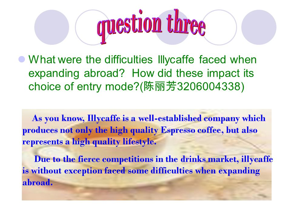 question three What were the difficulties Illycaffe faced when expanding abroad How did these impact its choice of entry mode (陈丽芳3206004338)