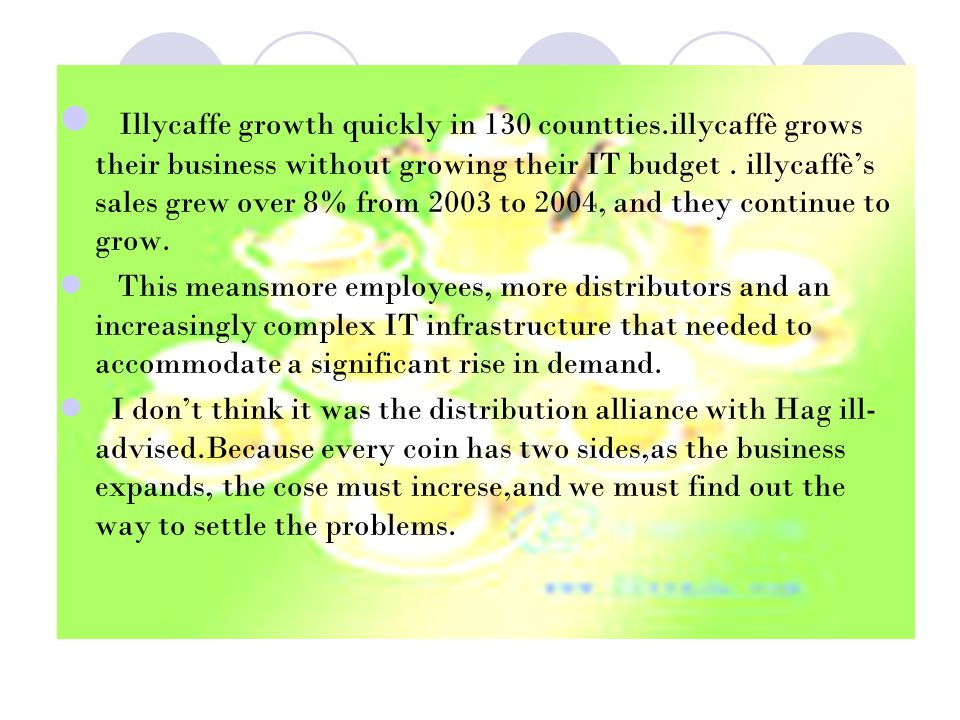 Illycaffe growth quickly in 130 countties