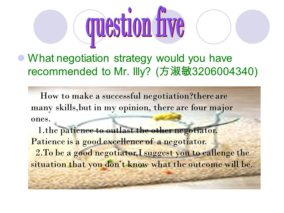 question five What negotiation strategy would you have recommended to Mr. Illy (方淑敏3206004340)