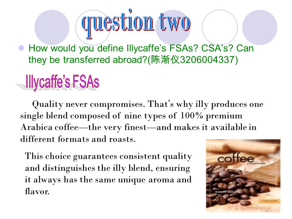 question two How would you define Illycaffe's FSAs CSA's Can they be transferred abroad (陈渐仪3206004337)