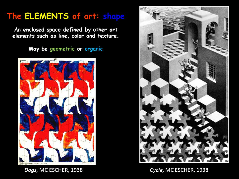 The ELEMENTS of art: shape An enclosed space defined by other art elements such as line, color and texture. May be geometric or organic