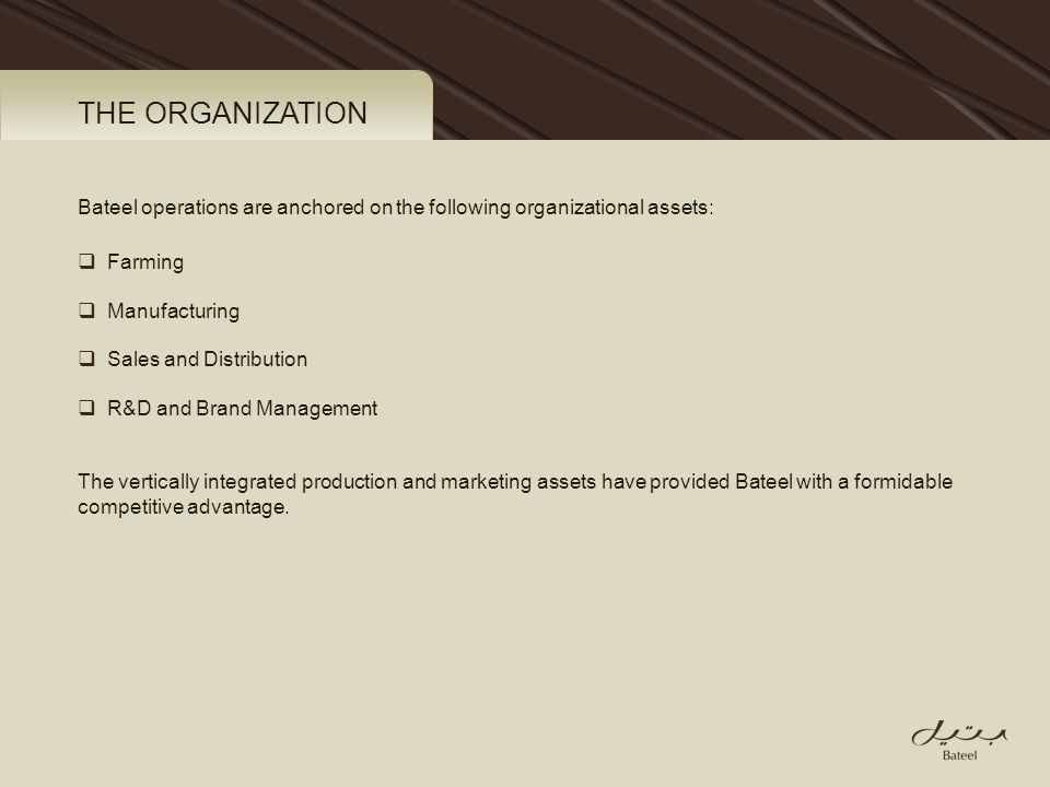 THE ORGANIZATION Bateel operations are anchored on the following organizational assets: Farming. Manufacturing.