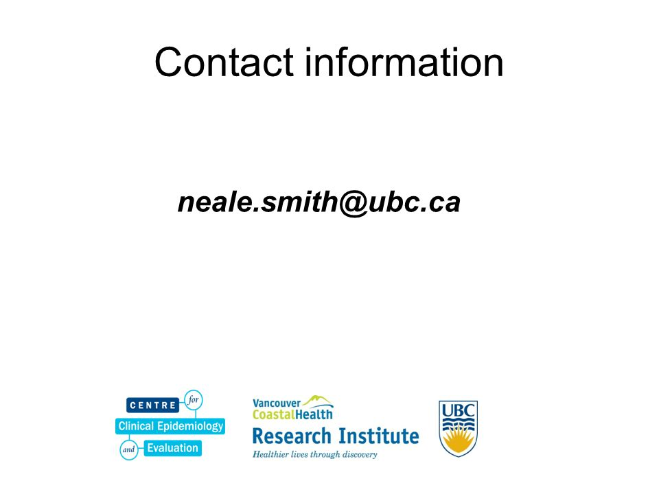 Contact information neale.smith@ubc.ca