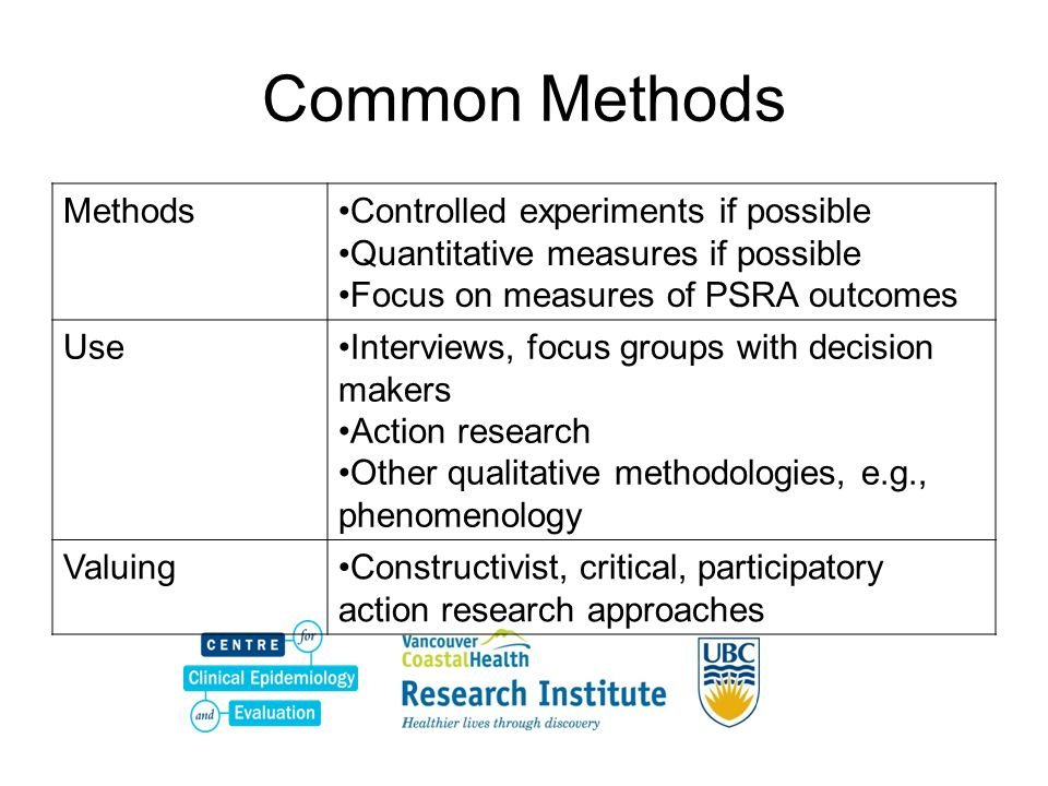 Common Methods Methods Controlled experiments if possible