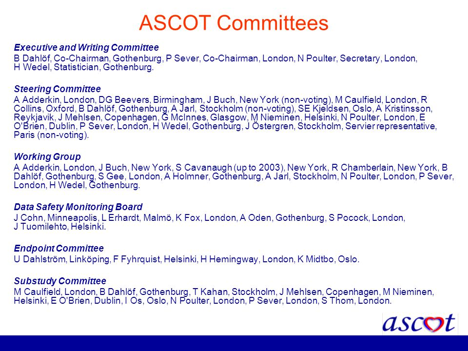 ASCOT Committees Executive and Writing Committee