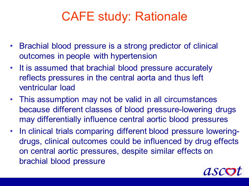 CAFE study: Rationale Brachial blood pressure is a strong predictor of clinical outcomes in people with hypertension.