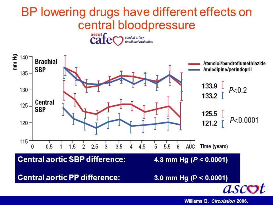 BP lowering drugs have different effects on central bloodpressure