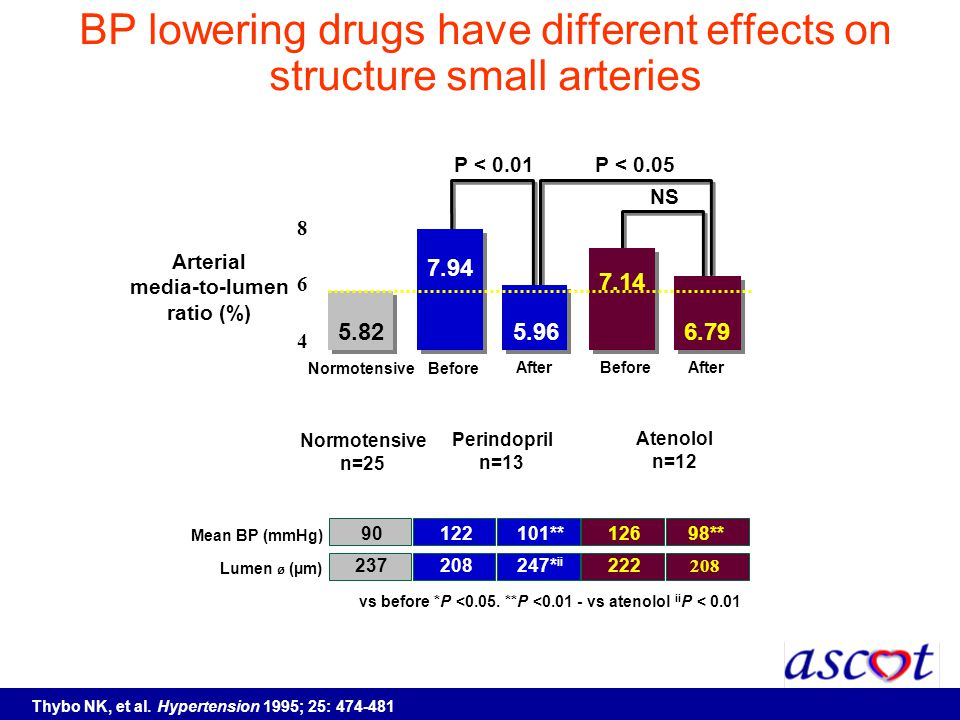 BP lowering drugs have different effects on structure small arteries