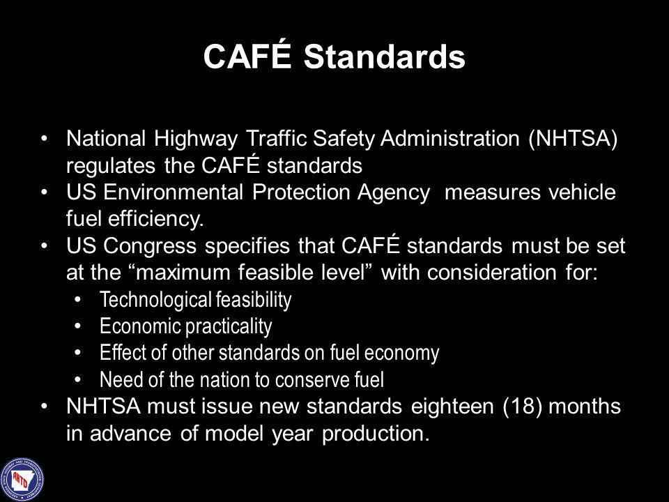 CAFÉ Standards National Highway Traffic Safety Administration (NHTSA) regulates the CAFÉ standards.