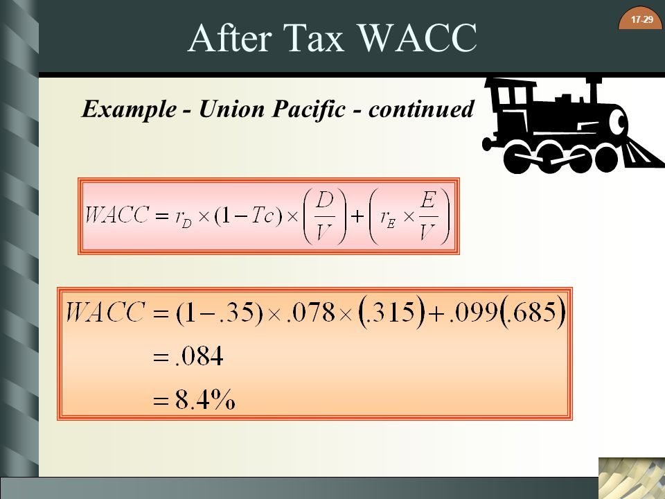 After Tax WACC Example - Union Pacific - continued