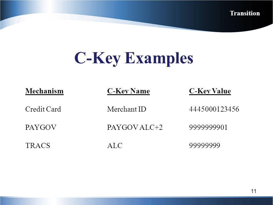 C-Key Examples Mechanism C-Key Name C-Key Value