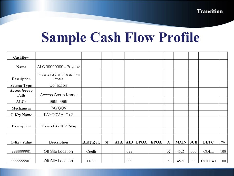 Sample Cash Flow Profile