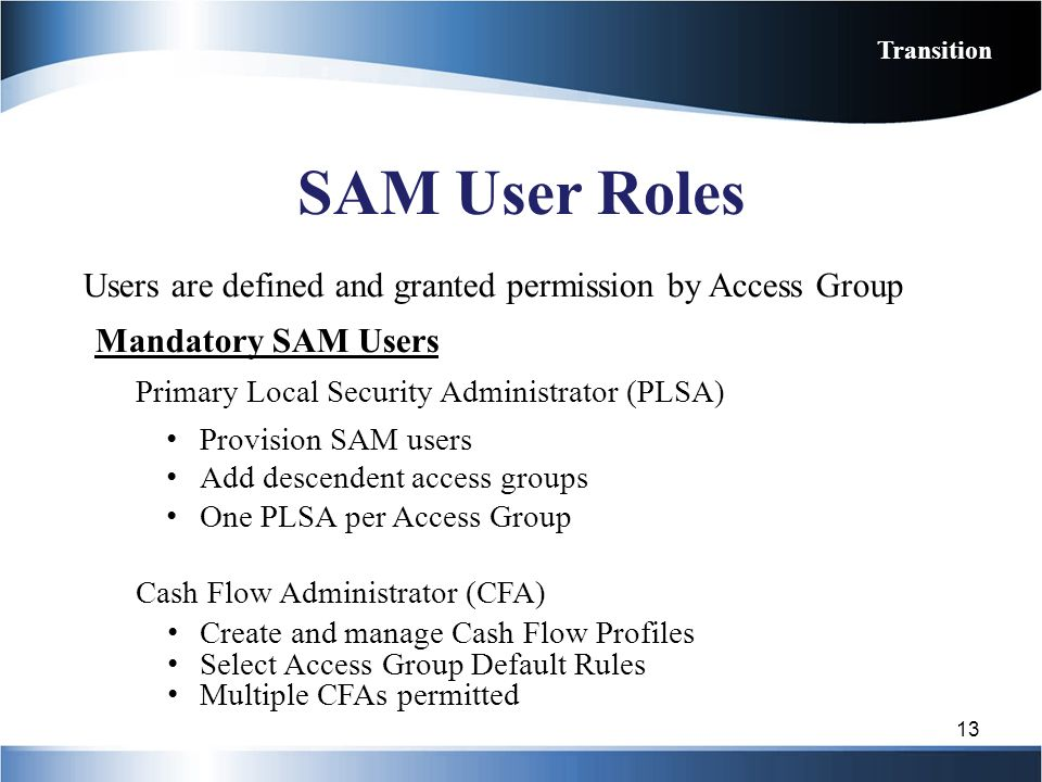 Transition SAM User Roles. Users are defined and granted permission by Access Group. Mandatory SAM Users.