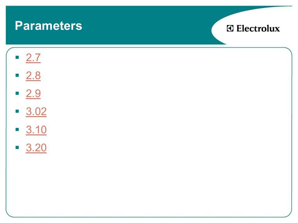 Parameters 2.7 2.8 2.9 3.02 3.10 3.20