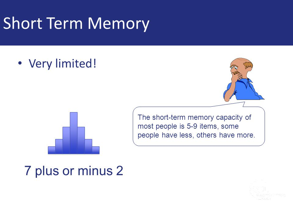 Short Term Memory Very limited! 7 plus or minus 2