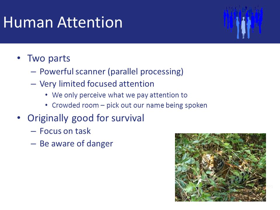 Human Attention Two parts Originally good for survival