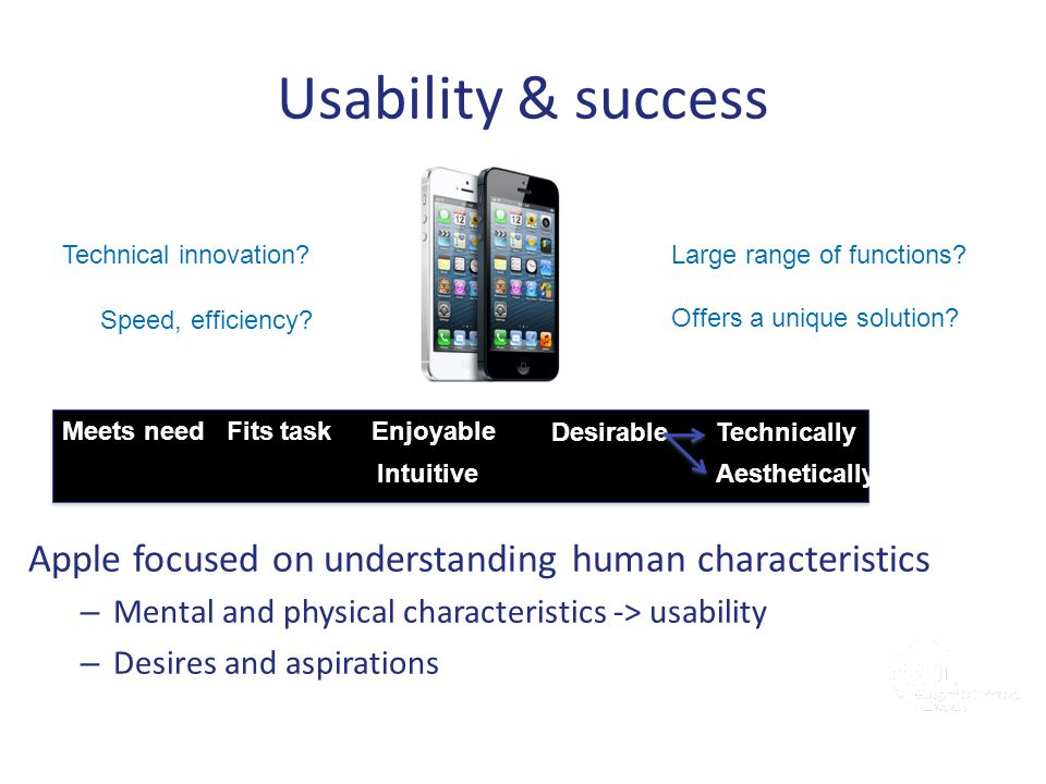 Usability & success Technical innovation Large range of functions Speed, efficiency Offers a unique solution