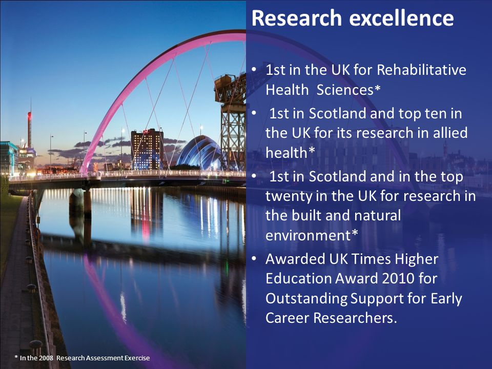 Research excellence 1st in the UK for Rehabilitative Health Sciences*