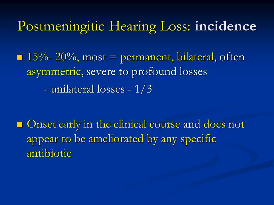 Postmeningitic Hearing Loss: incidence