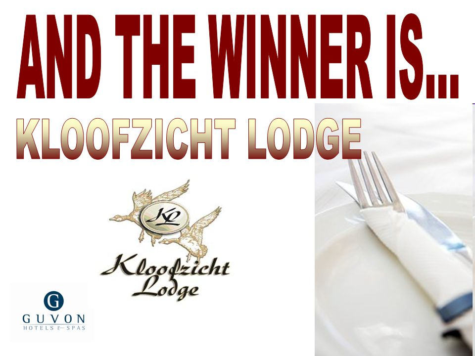 AND THE WINNER IS... KLOOFZICHT LODGE