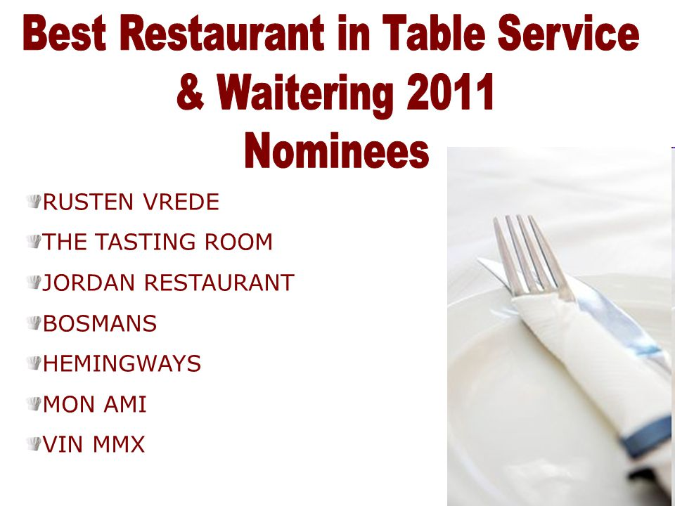 Best Restaurant in Table Service