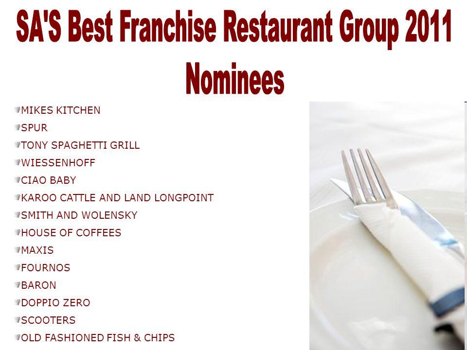 SA S Best Franchise Restaurant Group 2011