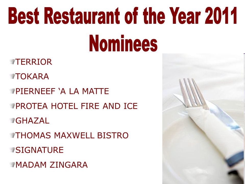 Best Restaurant of the Year 2011