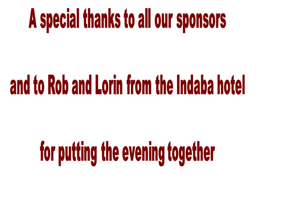 A special thanks to all our sponsors