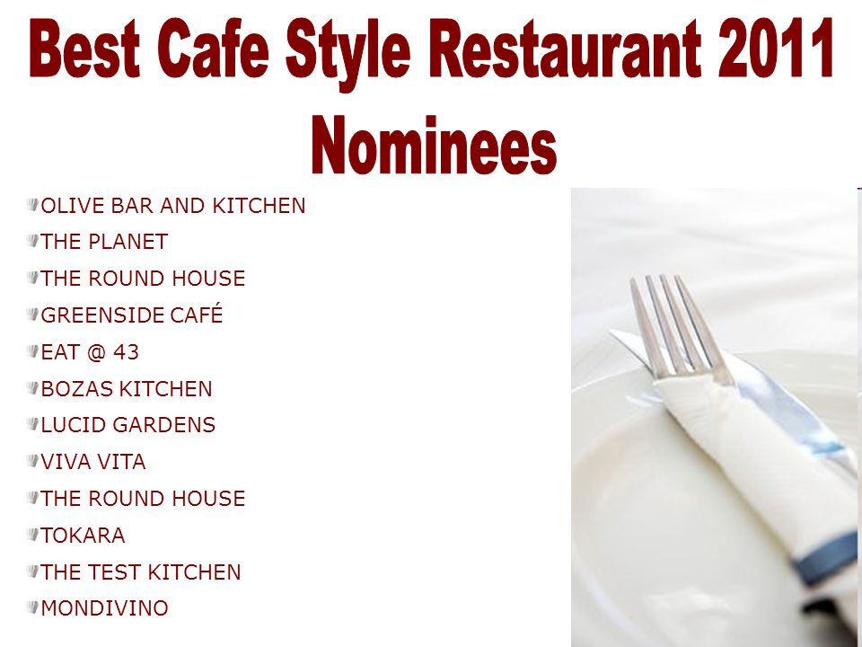Best Cafe Style Restaurant 2011