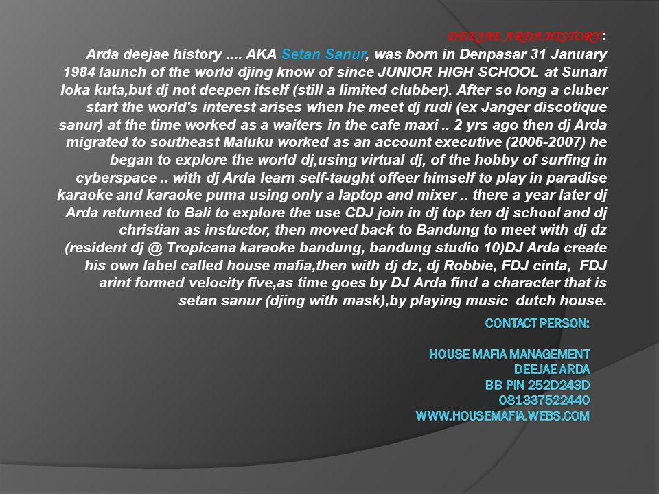 DEEJAE ARDA HISTORY : Arda deejae history