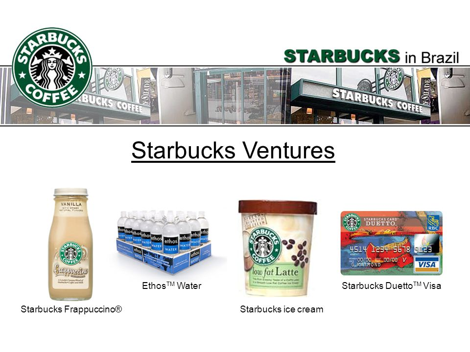 Starbucks Ventures EthosTM Water Starbucks DuettoTM Visa