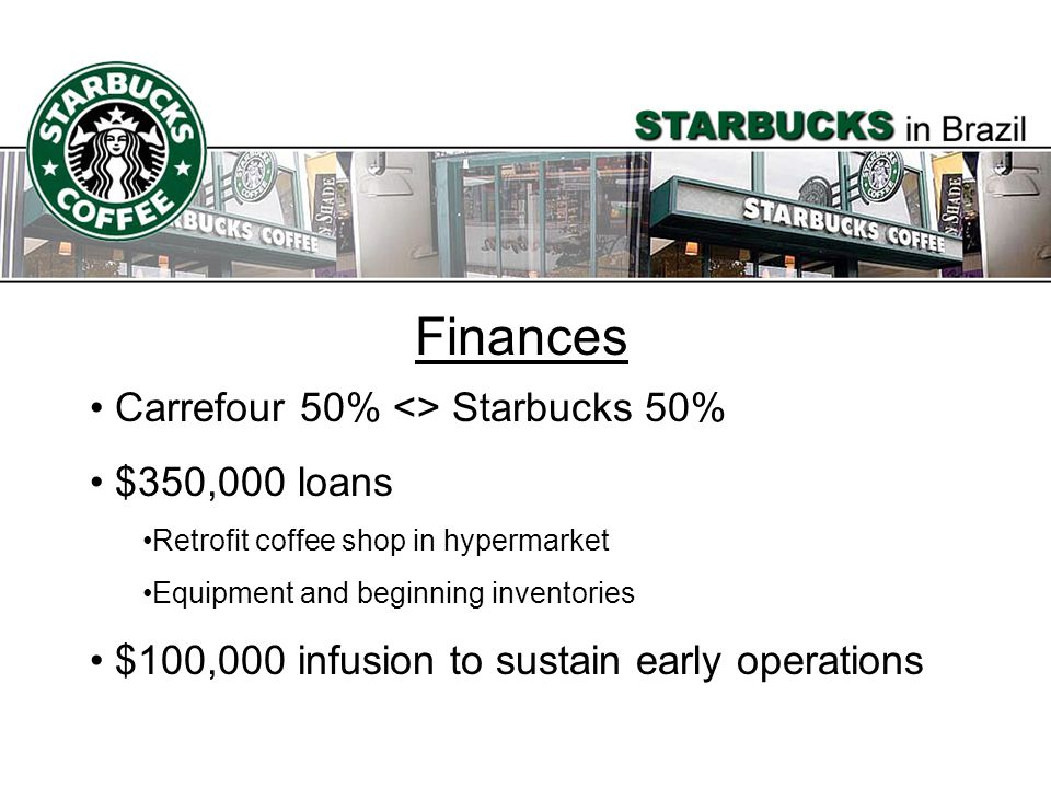 Finances Carrefour 50% <> Starbucks 50% $350,000 loans