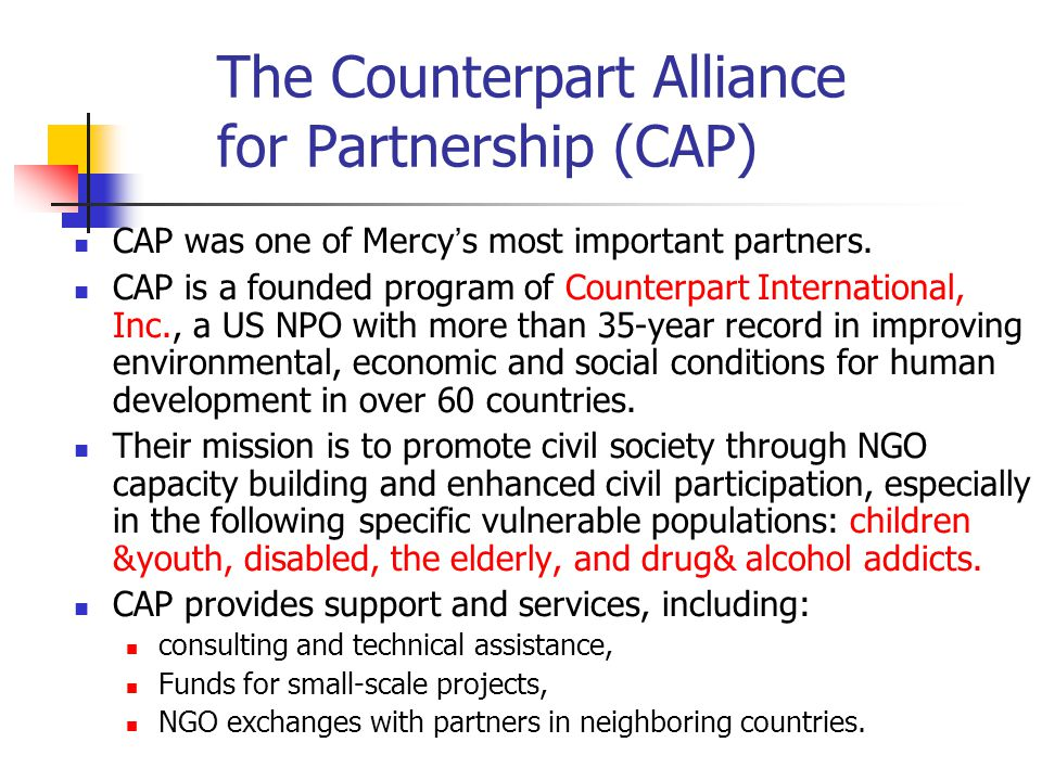 The Counterpart Alliance for Partnership (CAP)