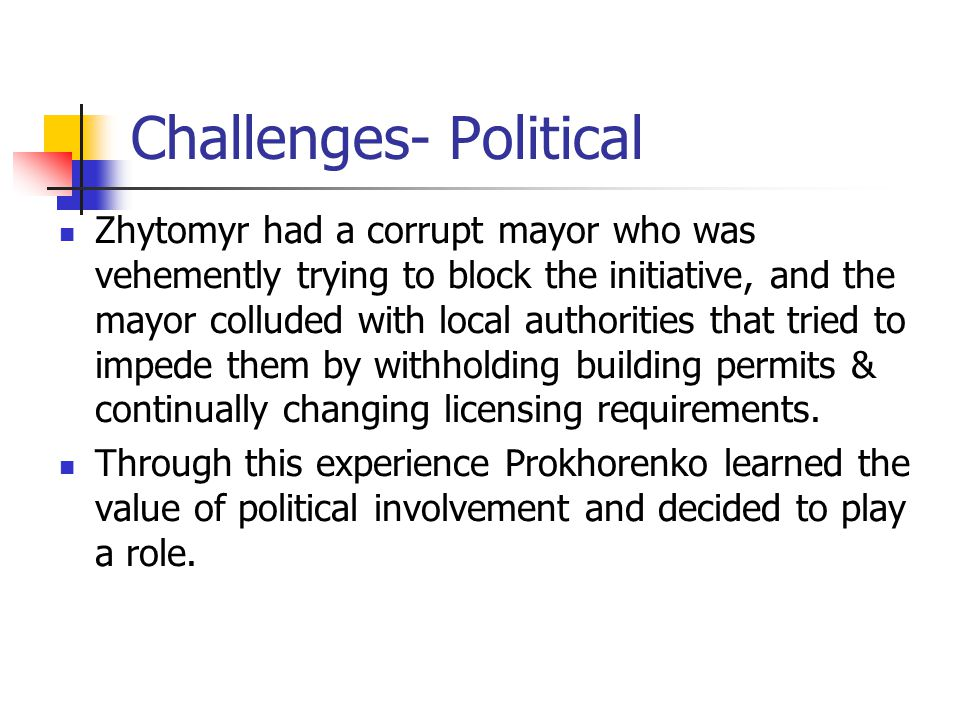 Challenges- Political