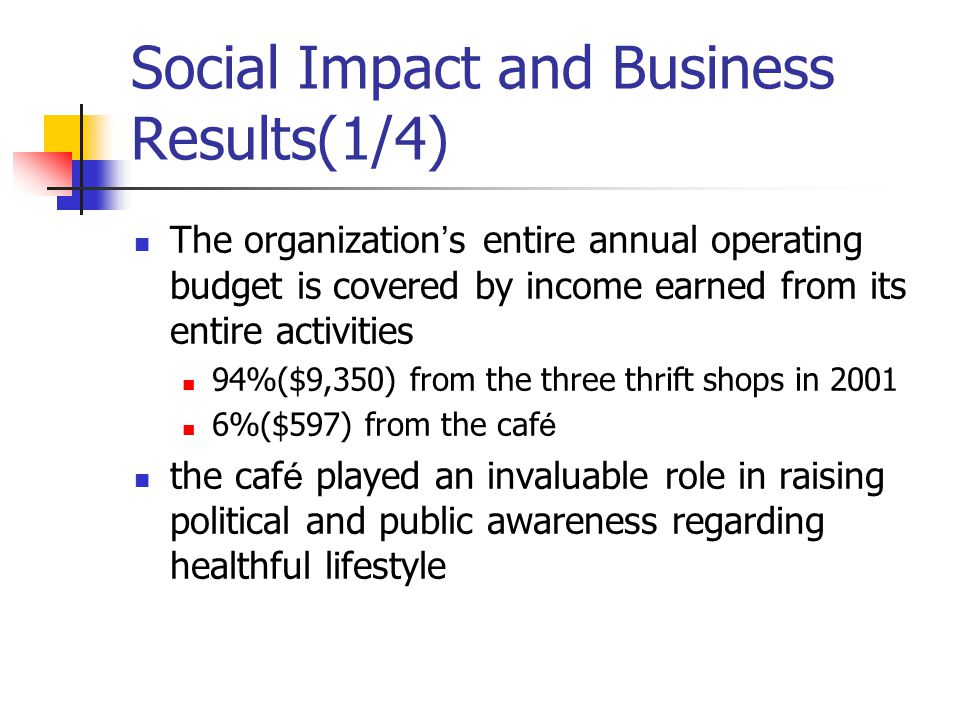 Social Impact and Business Results(1/4)