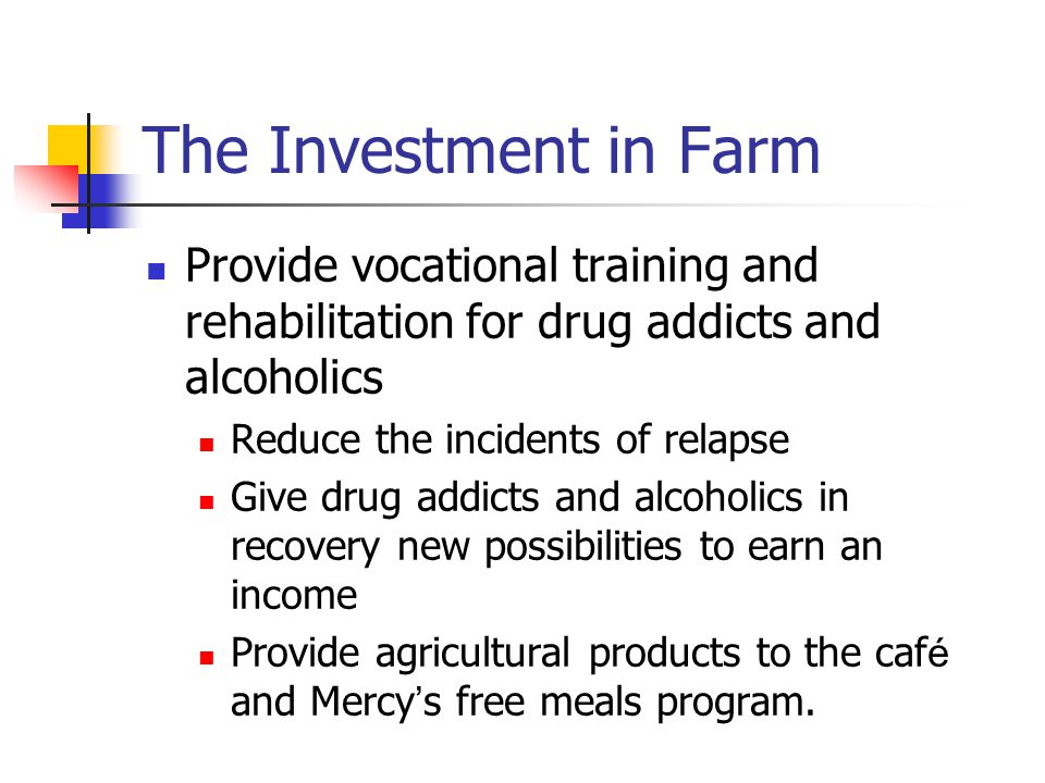 The Investment in Farm Provide vocational training and rehabilitation for drug addicts and alcoholics.