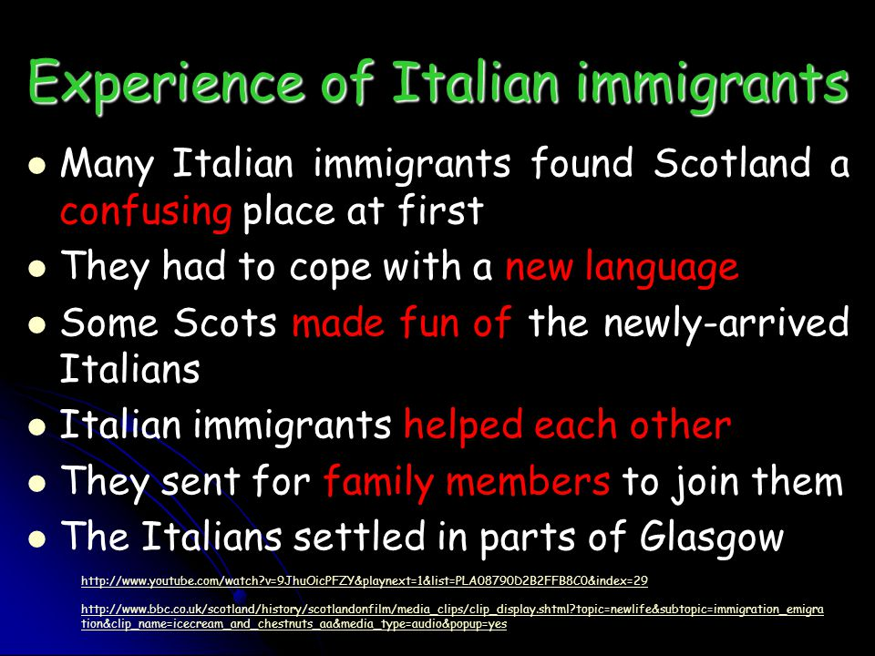 Experience of Italian immigrants