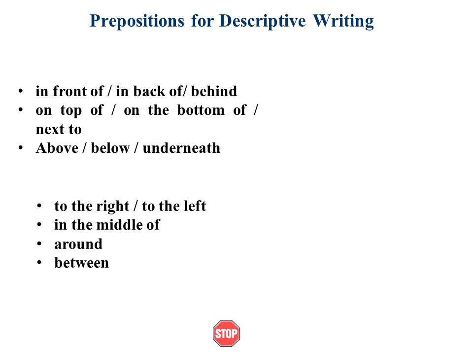 Prepositions for Descriptive Writing