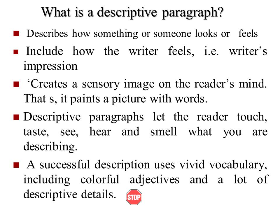 What is a descriptive paragraph