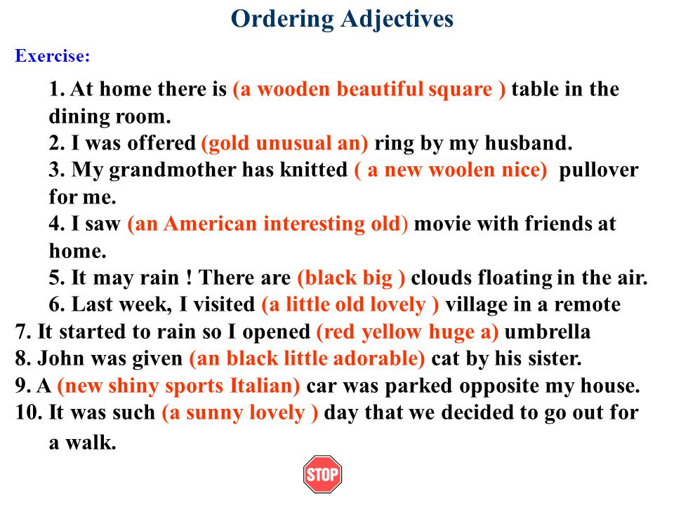 Ordering Adjectives Exercise: