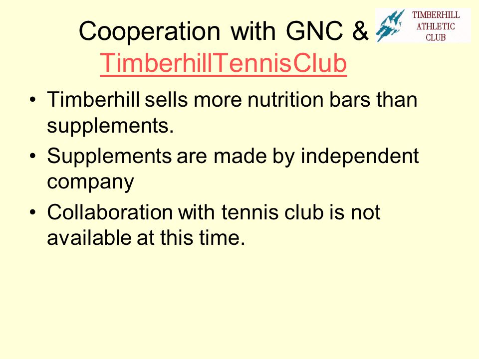 Cooperation with GNC & TimberhillTennisClub