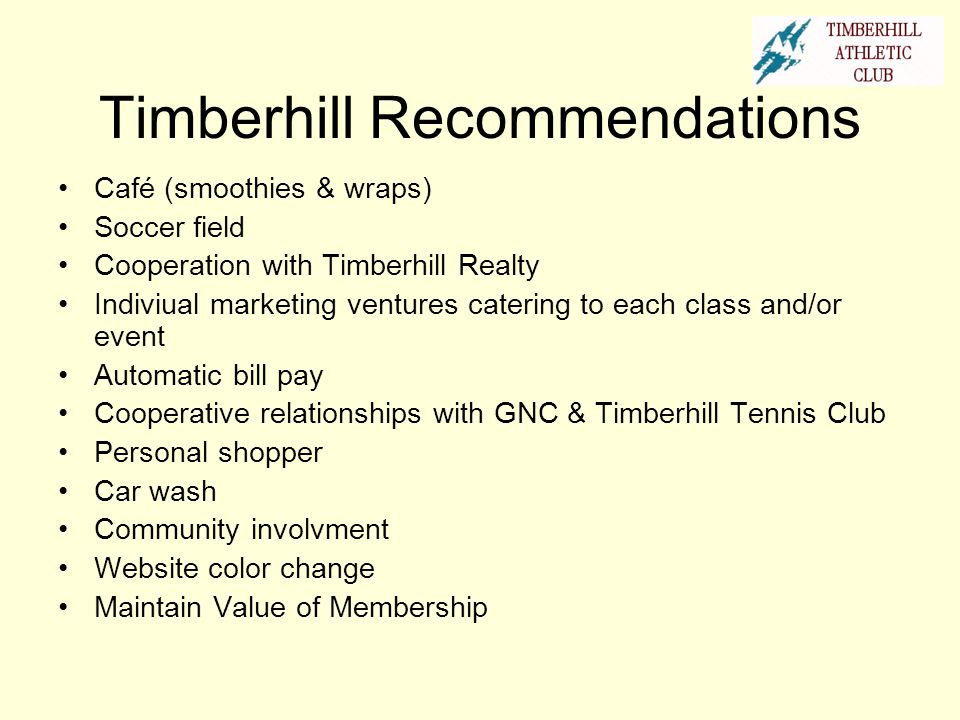 Timberhill Recommendations