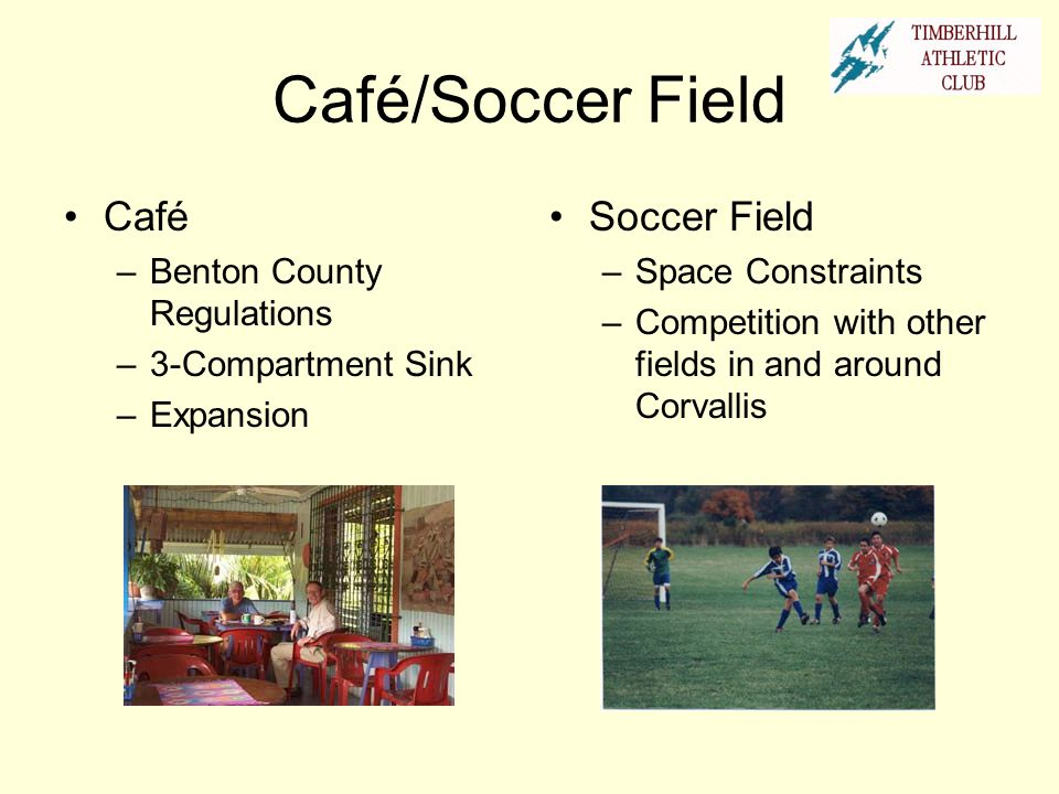 Café/Soccer Field Café Soccer Field Benton County Regulations