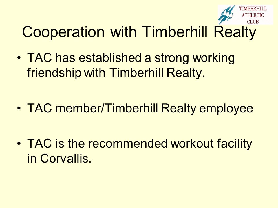 Cooperation with Timberhill Realty