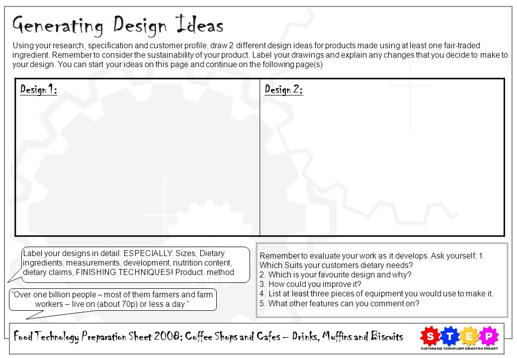 Using your research, specification and customer profile, draw 2 different design ideas for products made using at least one fair-traded ingredient. Remember to consider the sustainability of your product. Label your drawings and explain any changes that you decide to make to your design. You can start your ideas on this page and continue on the following page(s)