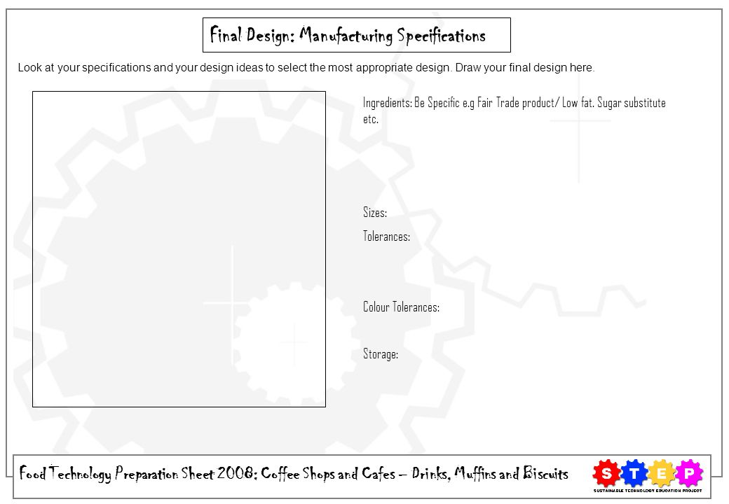 Final Design: Manufacturing Specifications